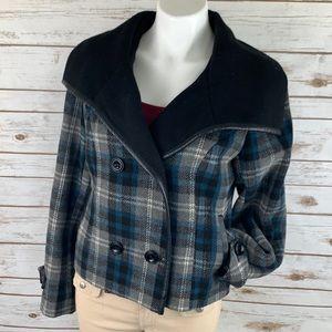 Sebby Blue & Black Plaid Double Breasted Jacket